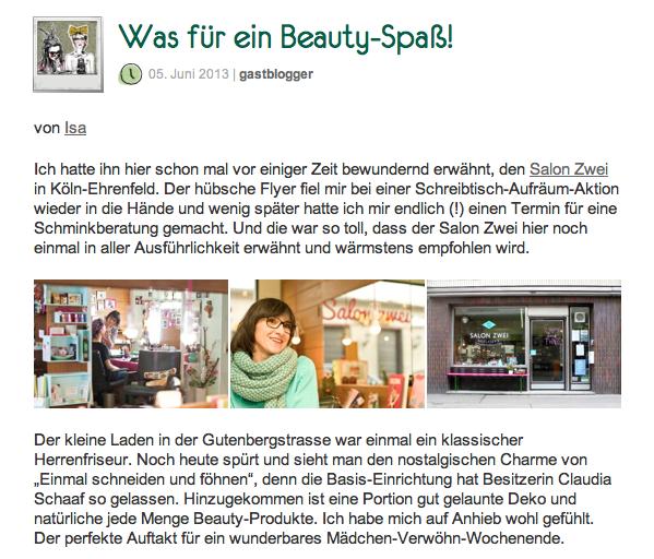GALERIA KAUFHOF Blog über Salon Zwei