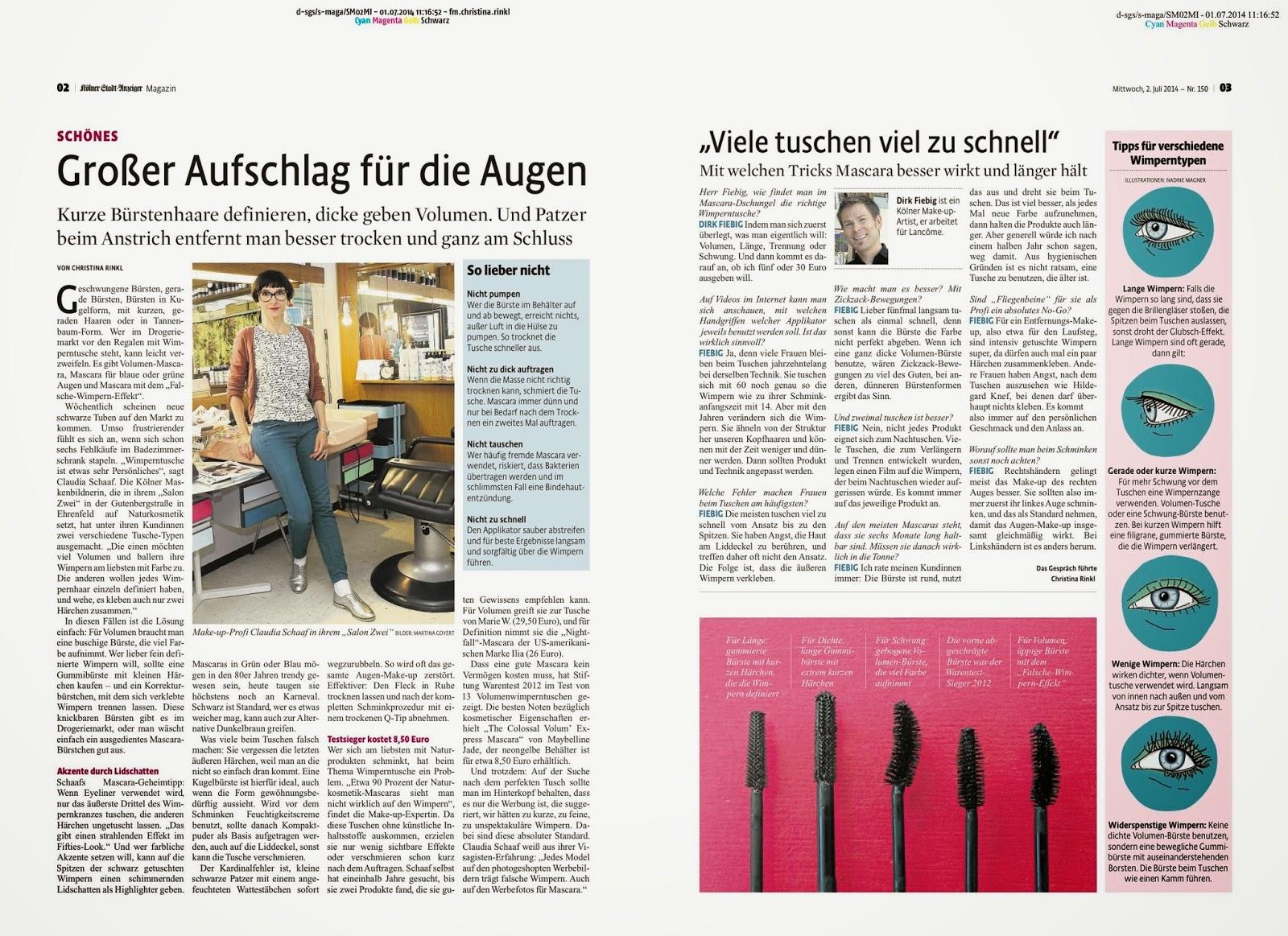 KSTA Magazin Artikel über den Salon Zwei und die richtige Tusche